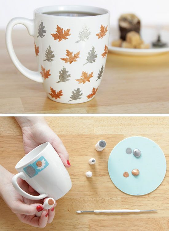 Mug leaf decoration fall