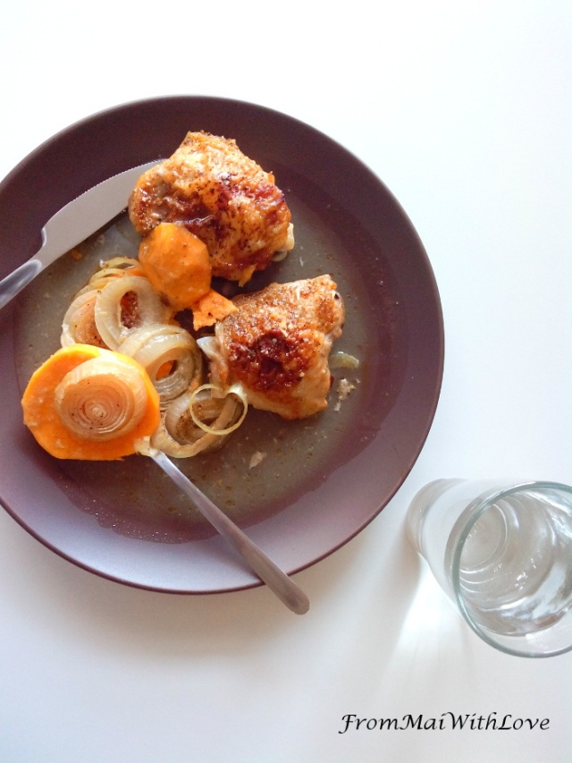 Oven roasted chicken with potatoes and orange sauce I